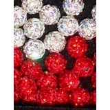 White and red shamballa- 8mm-price is for one piece