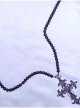 Мъжка броеница с черен Оникс-6мм и голям метален кръст
