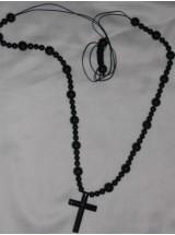 Мъжки гердан от черен Оникс и кръст от Хематит