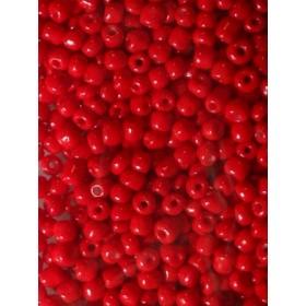 Стъклени мъниста- червени плътни- 4мм-50грама
