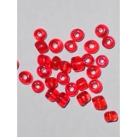 Стъклени мъниста-червени прозрачни- 4мм-50грама