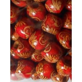 Дървени топки с червено- 12мм-50грама