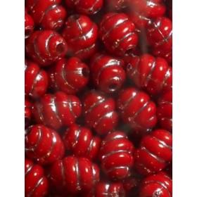 Червени охлювчета със сребърна нишка-10мм-50грама
