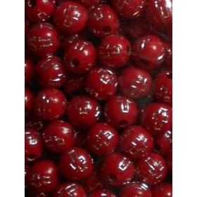 Червени топчета със сребърен кръст-8мм-50грама
