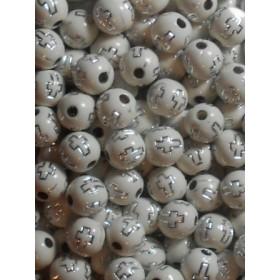 Бели топчета със сребърен кръст-8мм-50грама