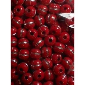 Червени топчета със сребърна нишка-8мм-50грама
