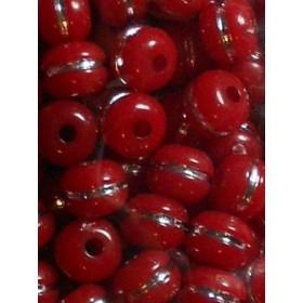 Червени топчета със сребърна нишка-10мм-50грама
