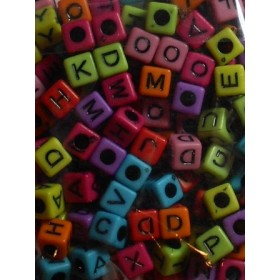 Шарени кубчета с букви- 7мм-50грама