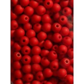 Червени плътни топчета- 6мм-50грама
