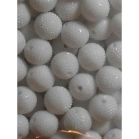 Бели плътни негладки топчета- 10мм-50грама